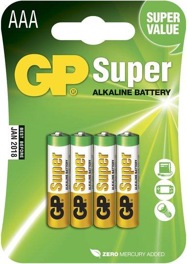 GP Batterier Super Alkaline AAA 24A LR03 4-pack