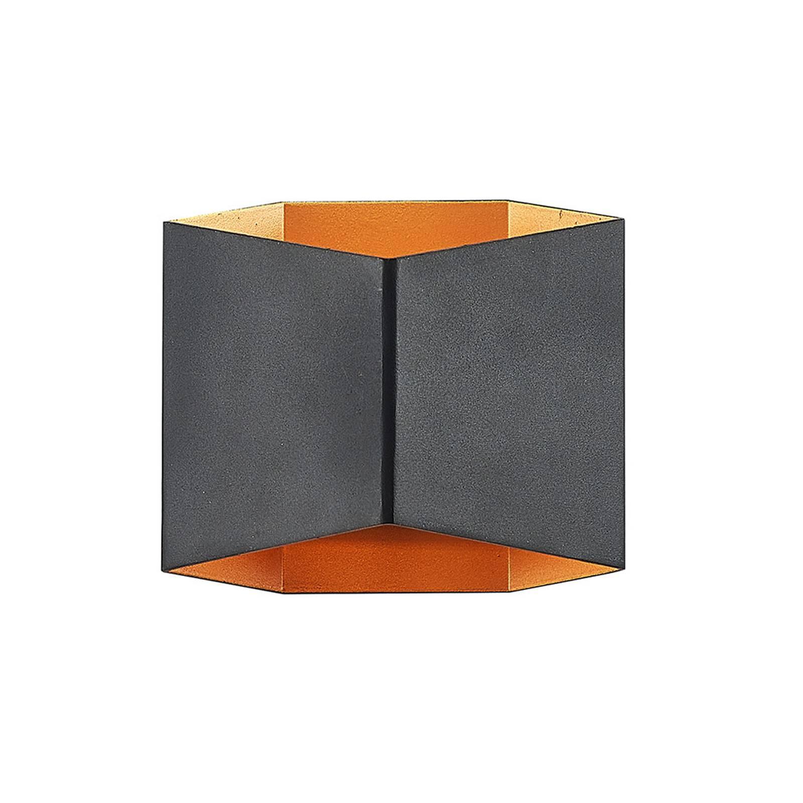 Arcchio Vilja -seinävalaisin, kulmikas musta kulta
