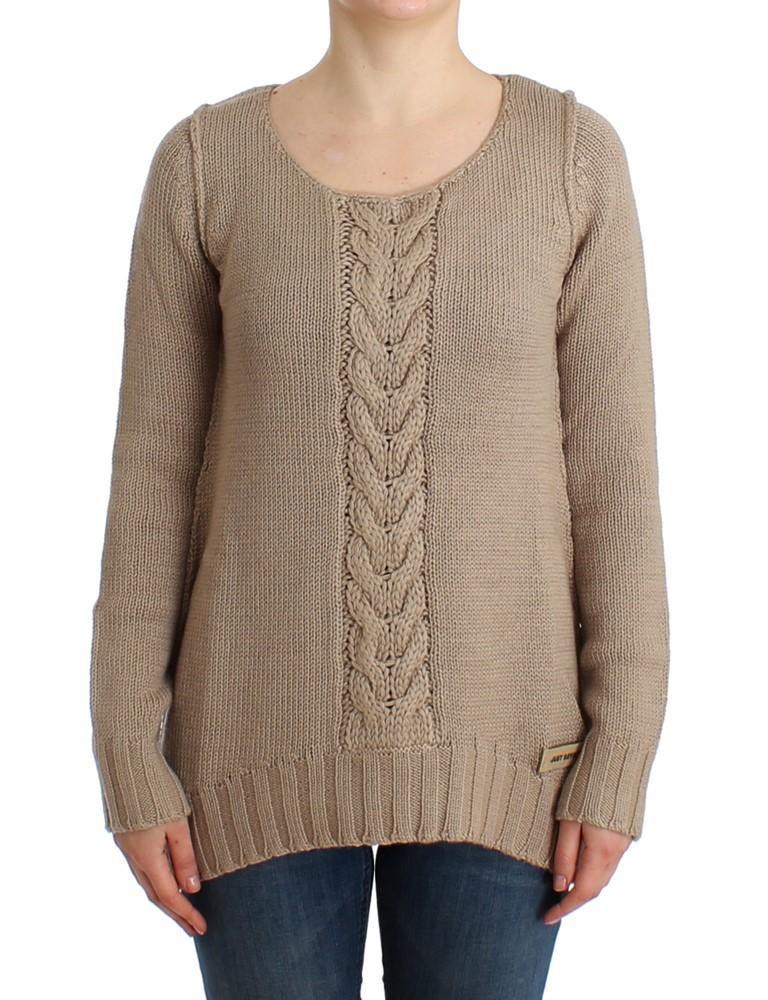Cavalli Women's Knitted Wool Sweater Beige SIG12108 - IT44|L