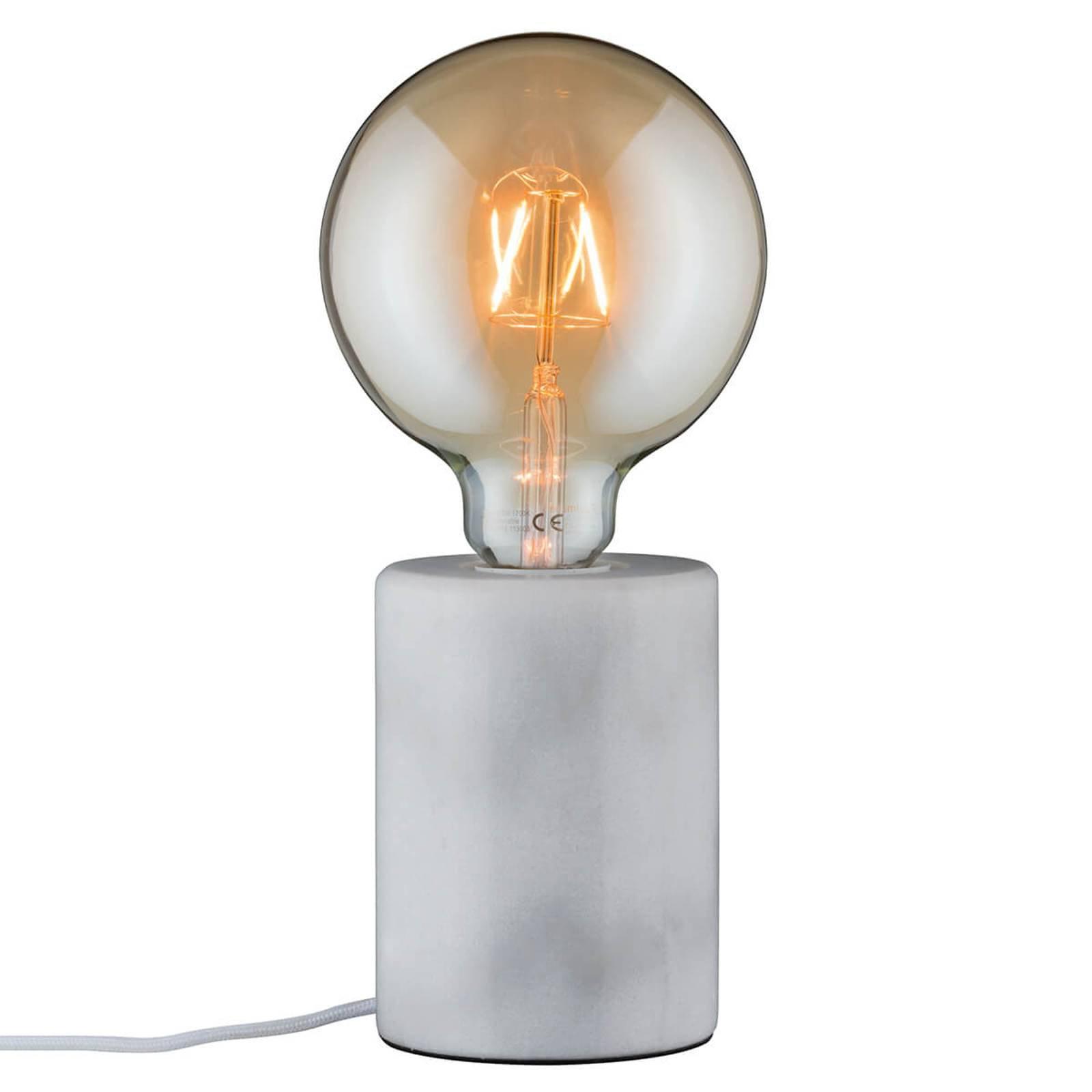 Hvit, puristisk bordlampe i marmor Nordin