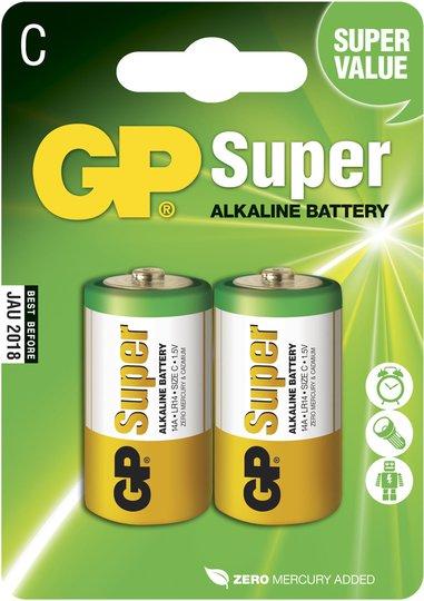 GP Batterier Super Alkaline C-Batteri 14A LR14 2-pack