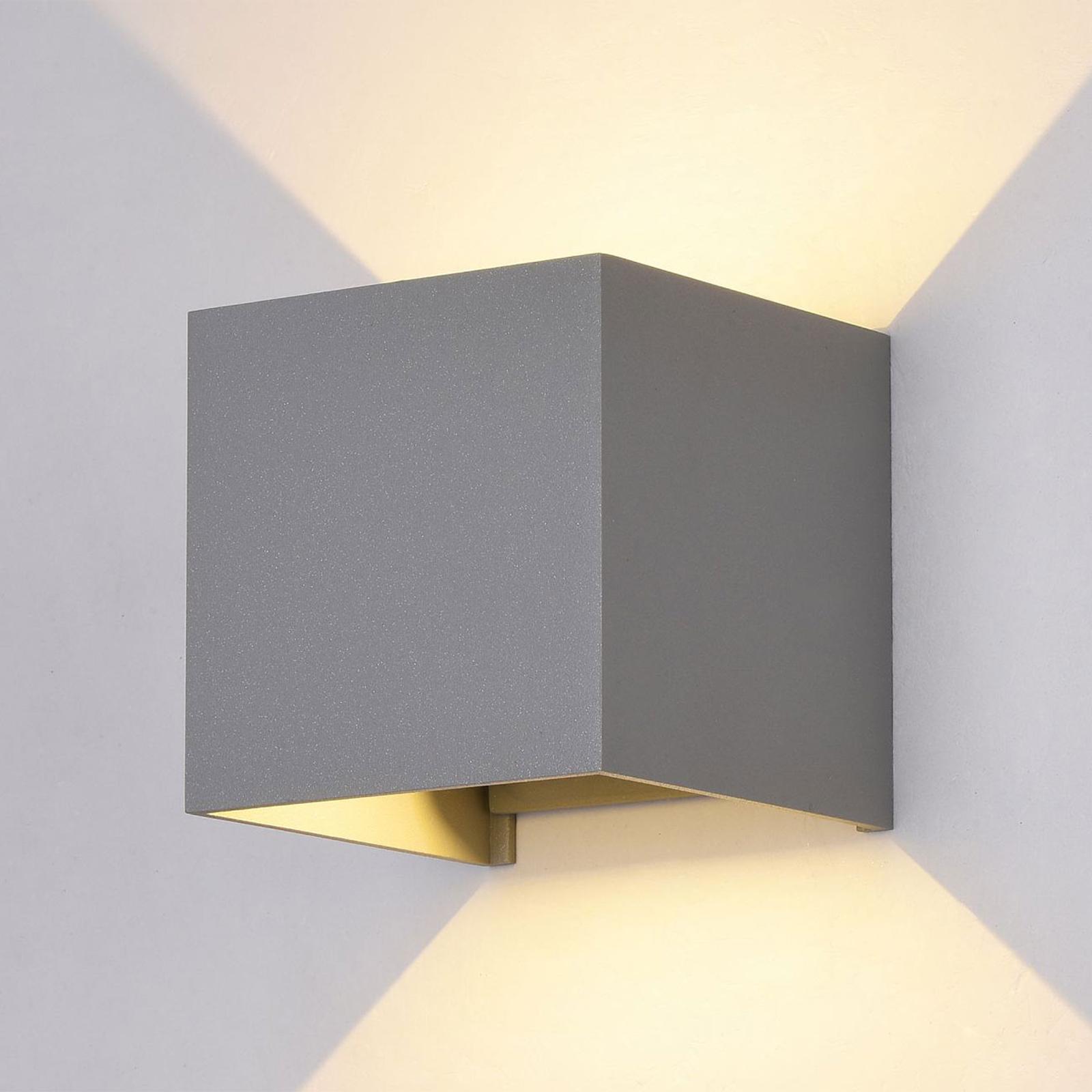 LED-ulkoseinävalaisin Fulton, 10 x 10 cm, harmaa