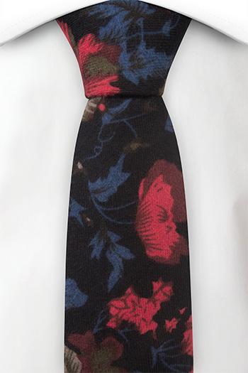 Bomull Smale Slips, Sort bakgrunn & blomster i rød, beige, blå og brun