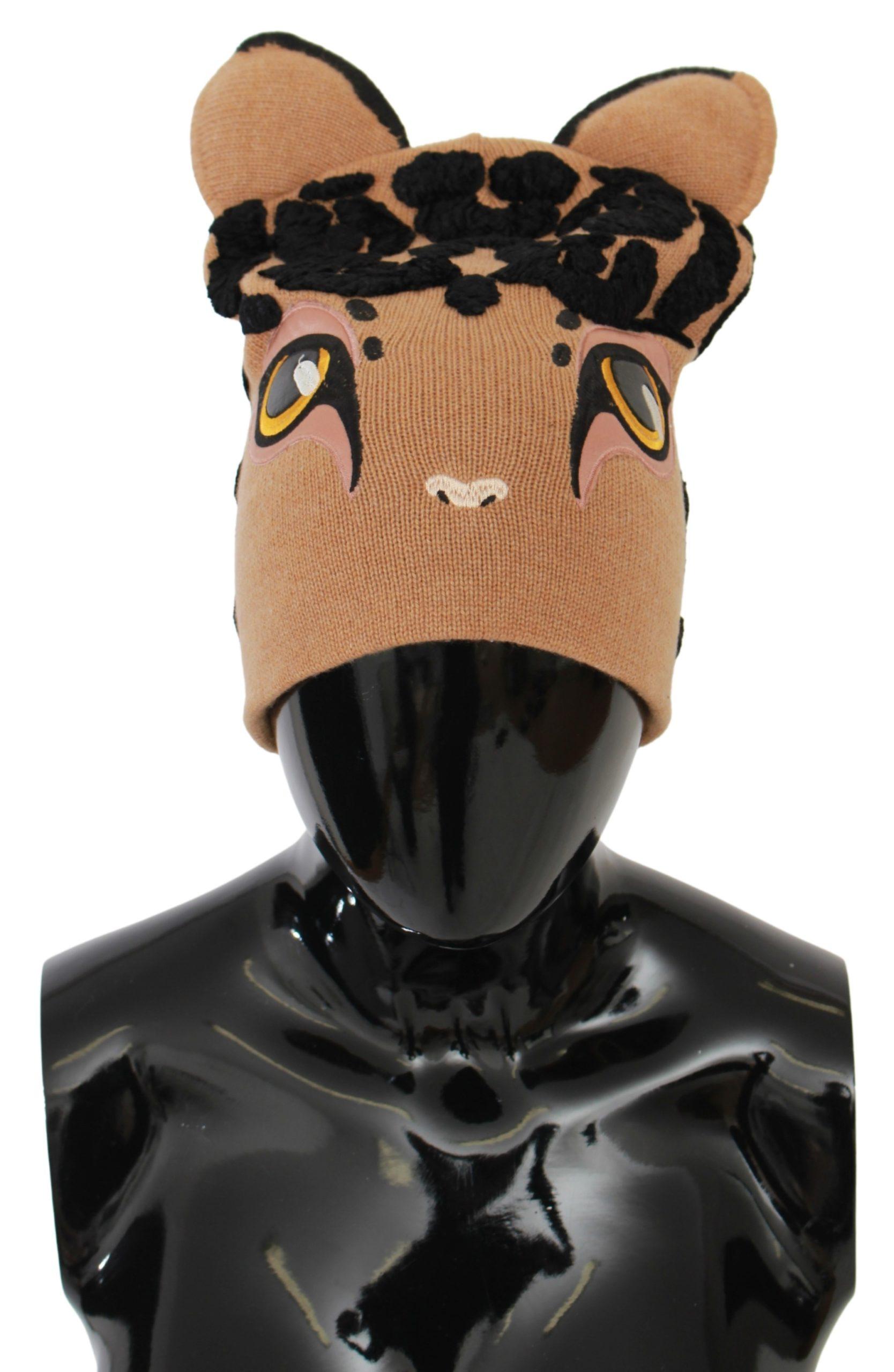 Dolce & Gabbana Women's Cats Eye Embroidered Beanie Cashmere Hat Brown HAT20037