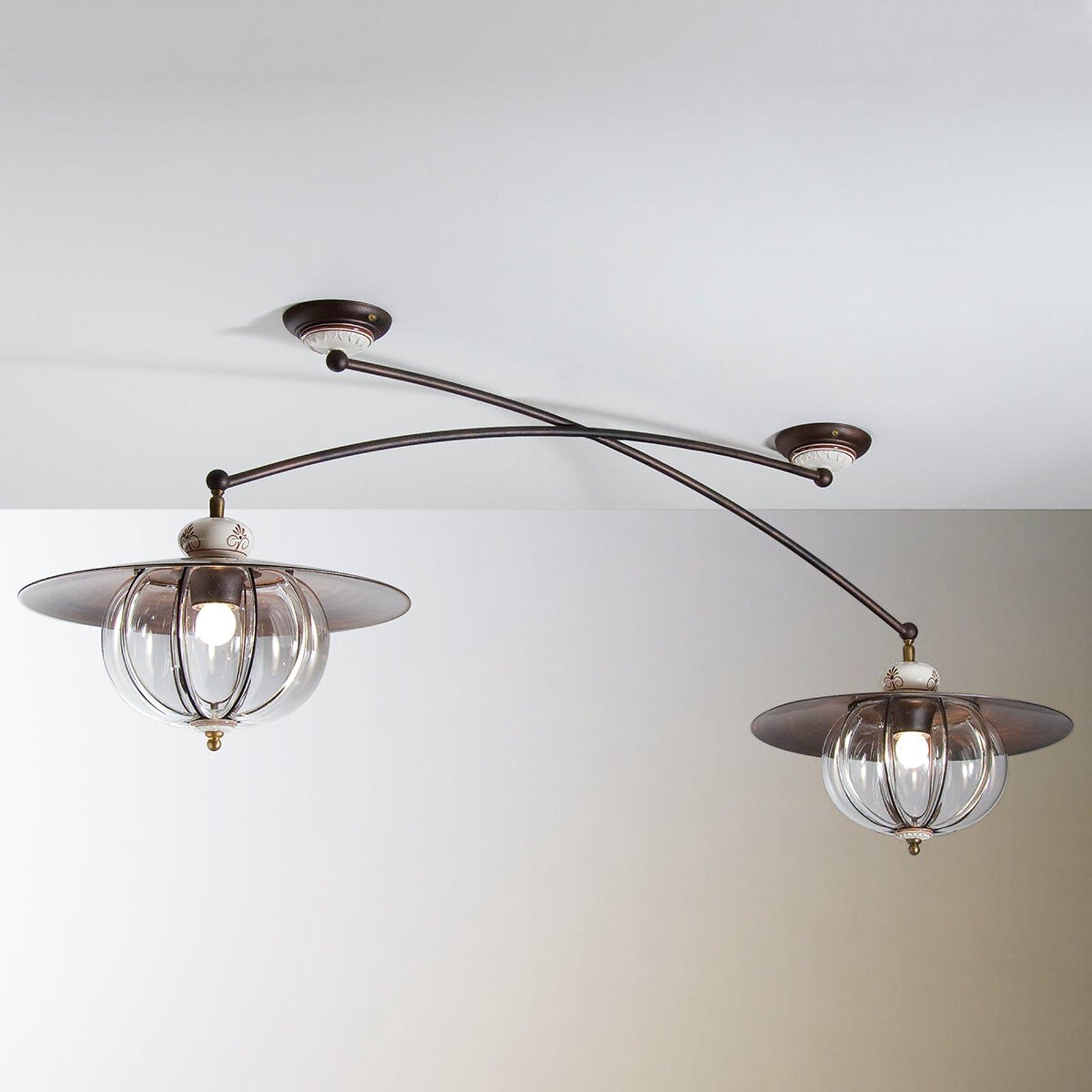 Taklampe 2 lyskilder Lampara i hyttestil