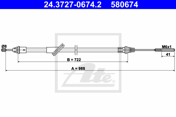 Käsijarruvaijeri ATE 24.3727-0674.2