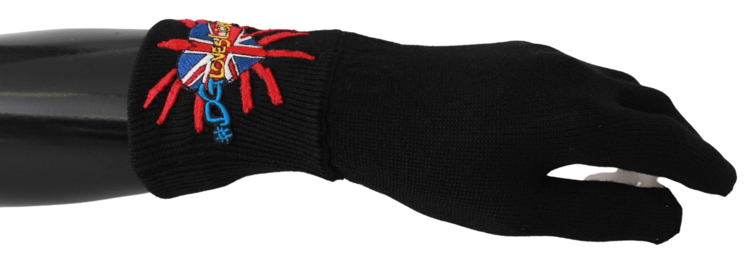 Dolce & Gabbana Men's Embroidered Wool Gloves Black 293990360551