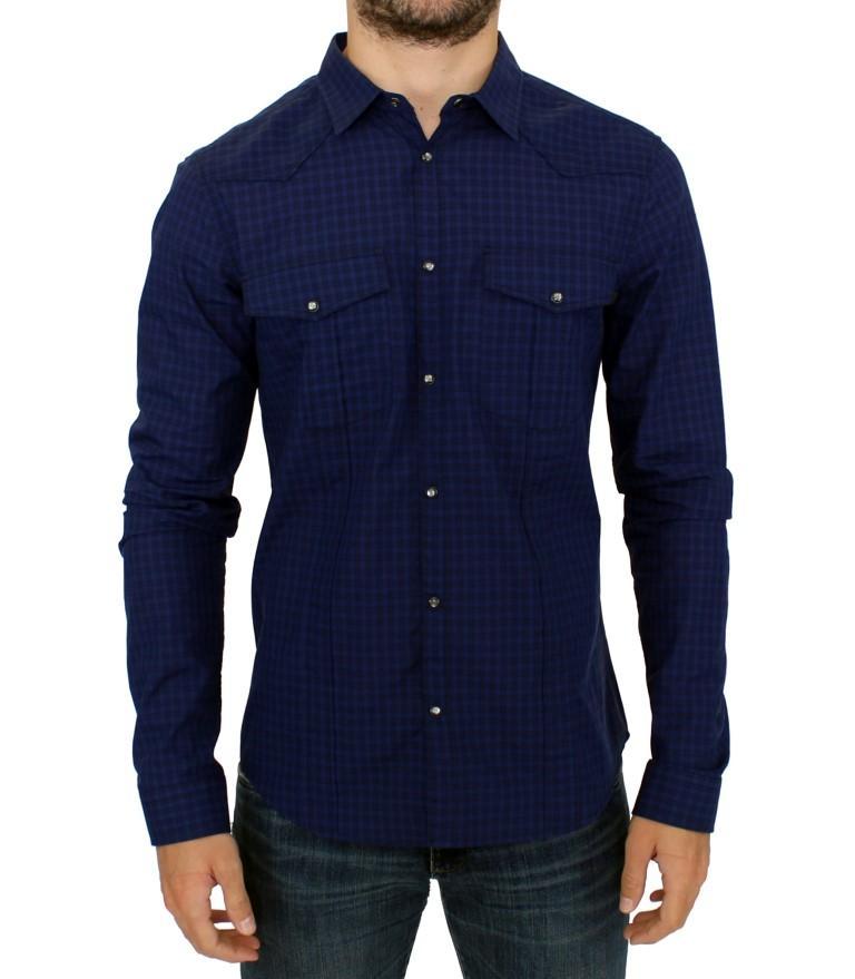 Costume National Men's Checkered Cotton Shirt Blue SIG10357 - IT48 | M