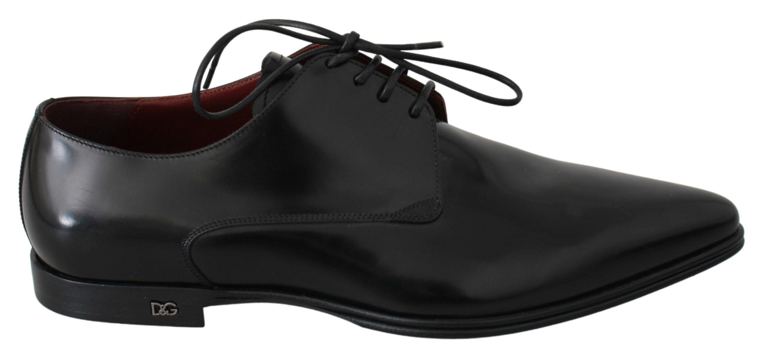 Dolce & Gabbana Men's Leather Derby Shoes Black MV2712 - EU39.5/US6.5