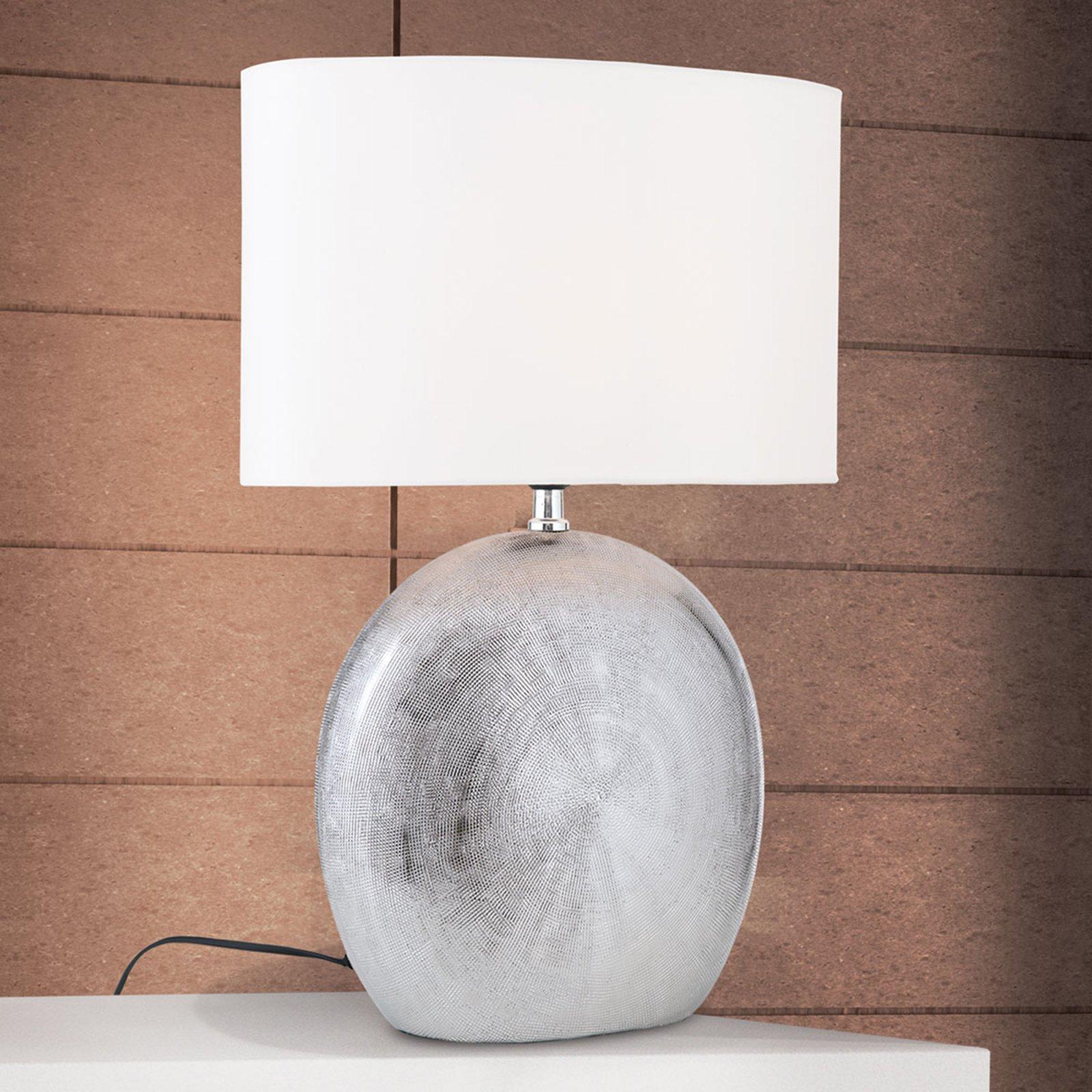 Keramisk bordlampe Ethno 52 cm hvit, fot titan