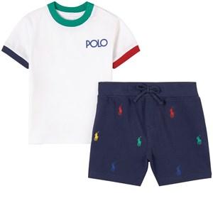 Ralph Lauren Logo T-shirt Och Shorts Set Marinblå 6 mån