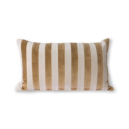 Striped Velvet Cushion Brown/Natural 30x50 cm