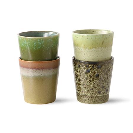 70s ceramics: Kaffemuggar Spring greens Set om 4