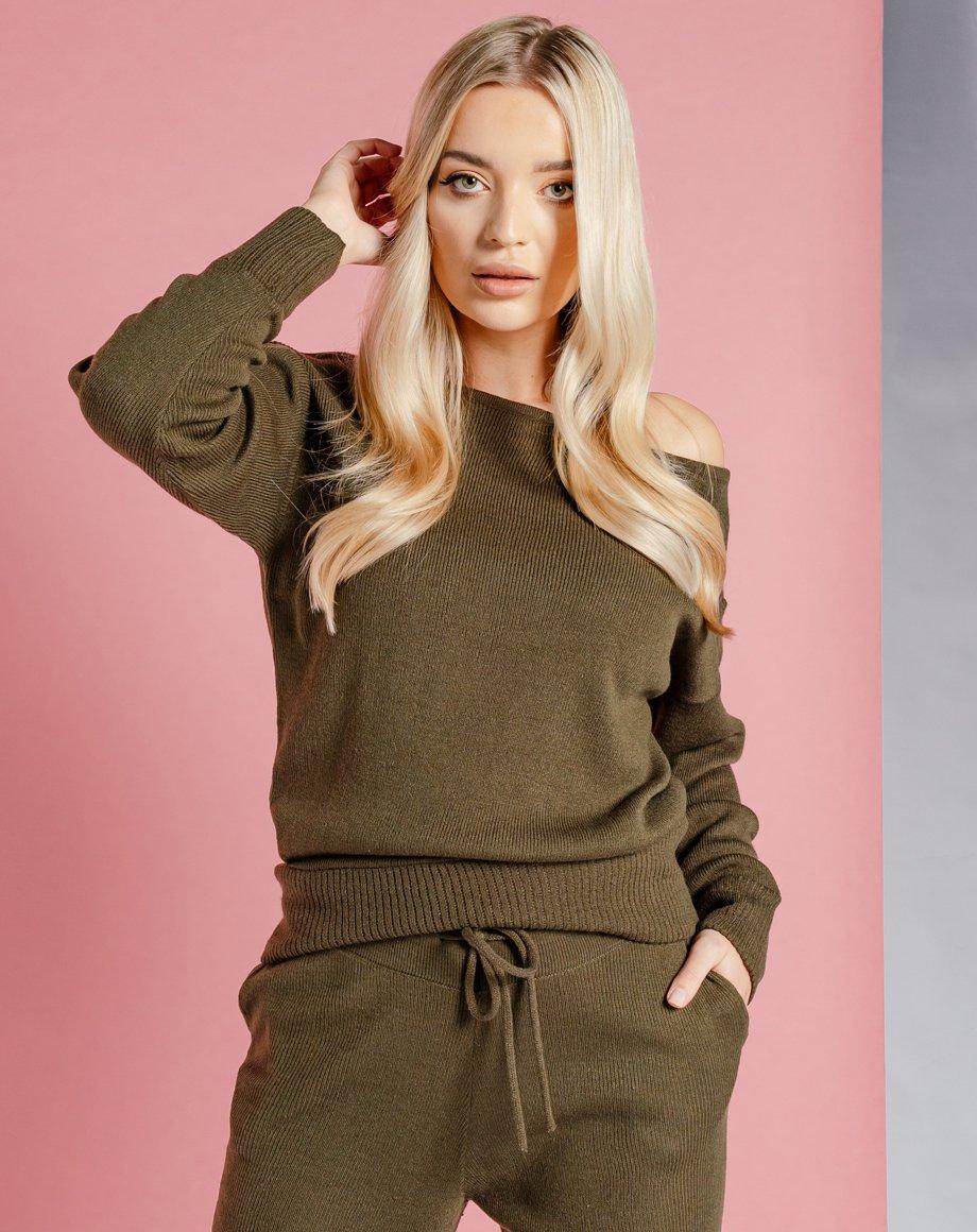 Auriel Knitted Lounge Top - Khaki / 8