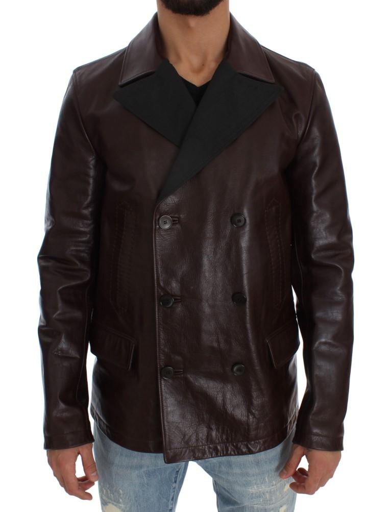 Dolce & Gabbana Men's Double Breasted Leather Jacket Brown SIG32735 - IT48 | M