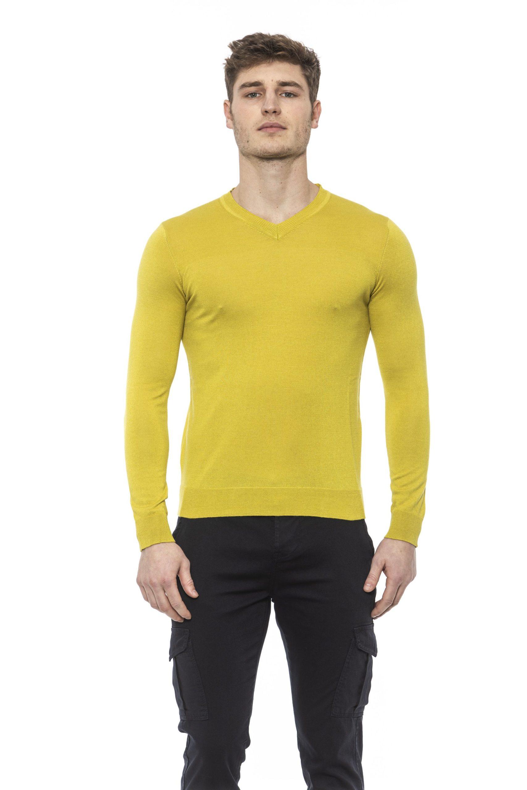 Alpha Studio Men's Bamboo Sweater Yellow AL1374451 - IT48 | M