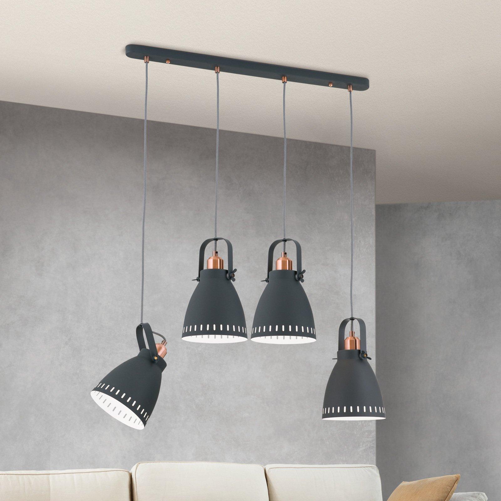 Hengelampe Theke av metall, fire lyskilder