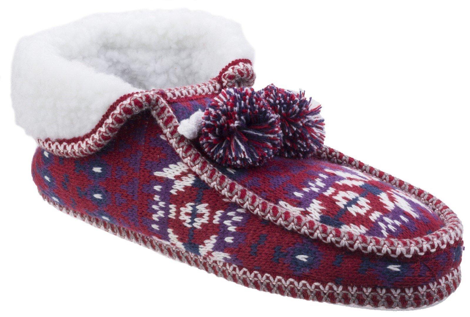 Divaz Women's Lapland Knitted Slipper Black 25584-42601 - Red 4