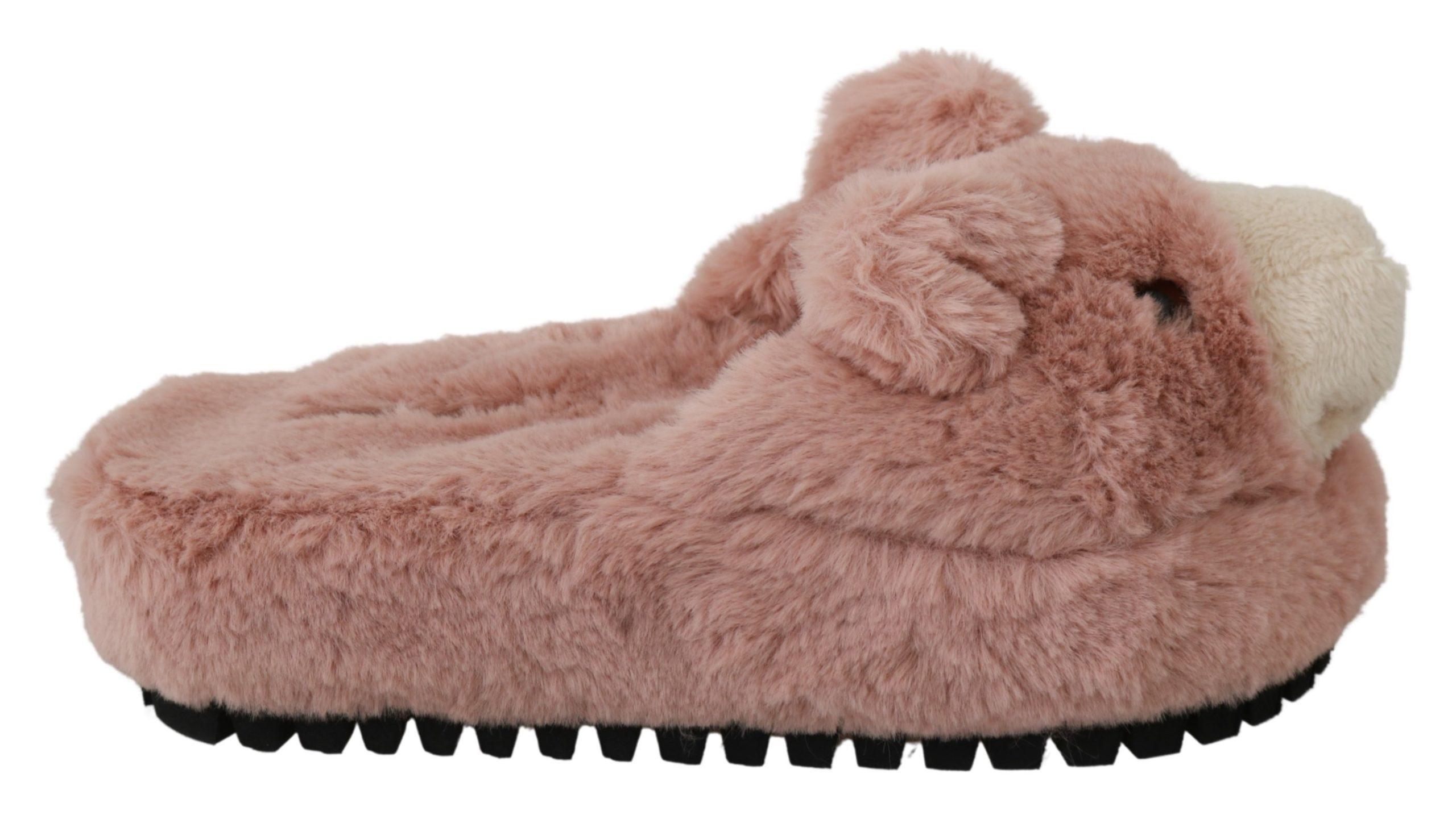 Dolce & Gabbana Women's Bear House Flat Shoe Pink LA6471 - EU35/US4.5