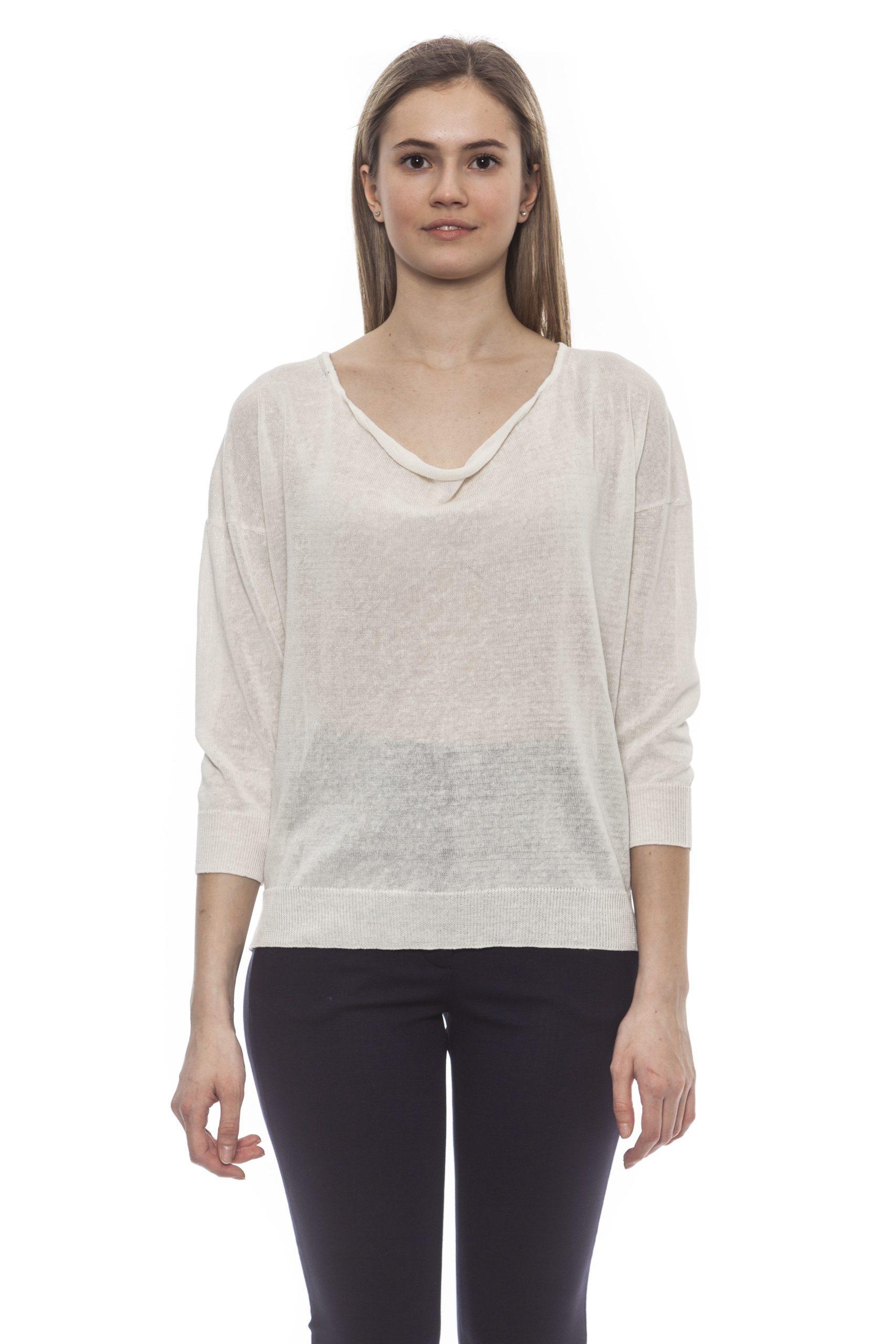 Peserico Women's Bianco Sweater White PE1383134 - IT42 | S