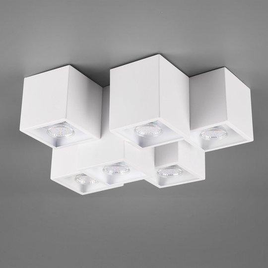 Taklampe Fernando, 6 lyskilder, matt hvit