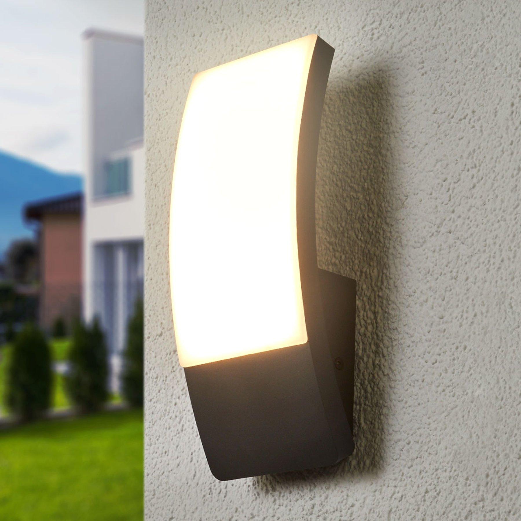 Siara buet utendørs LED-vegglampe, mørk grå