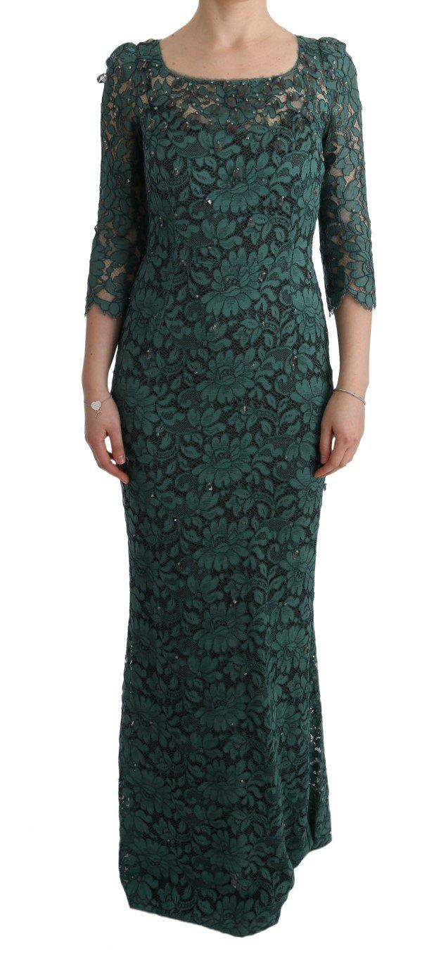 Dolce & Gabbana Women's Floral Crystal Ricamo Dress Green SIG60589 - IT42|M
