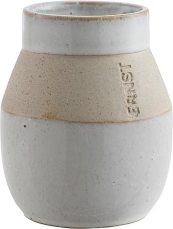 Glaserad Vas med matt bård - 10 cm