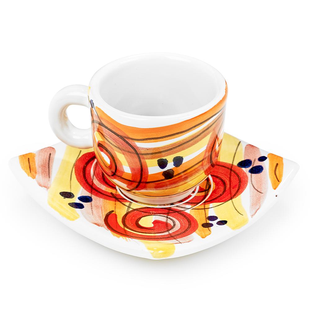 Orange Espresso Cup & Saucer by Sol'Art