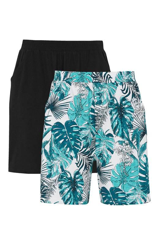 Cellbes Mönstrade shorts med fickor 2-Pack Turkos Mönstrad Svart