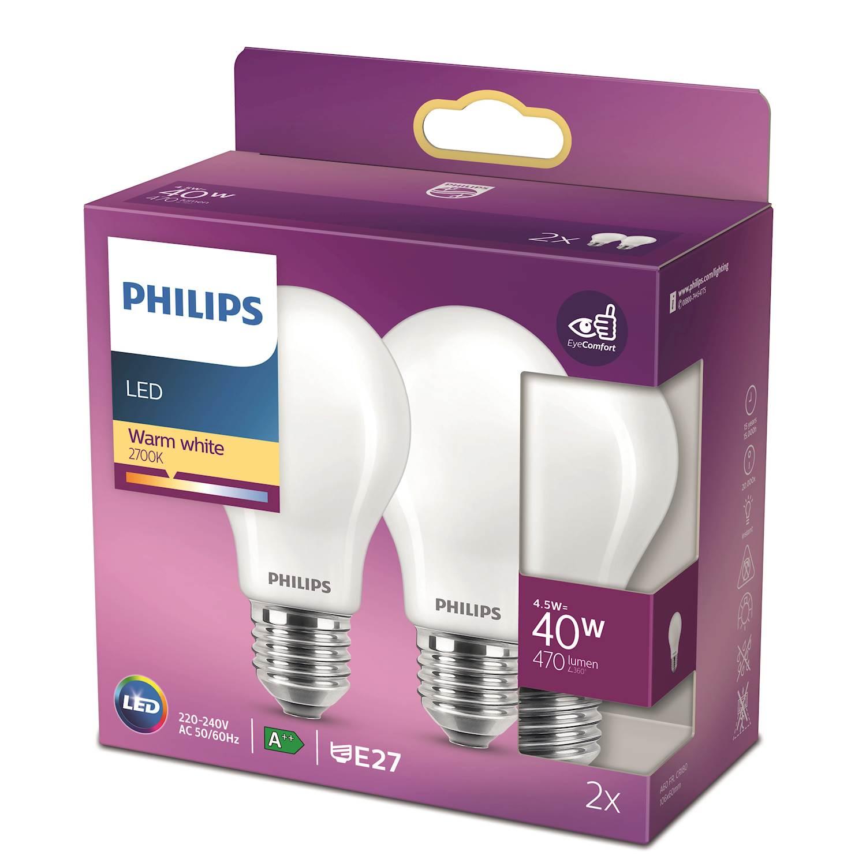 Philips LED Classic nor 40w e27 2P