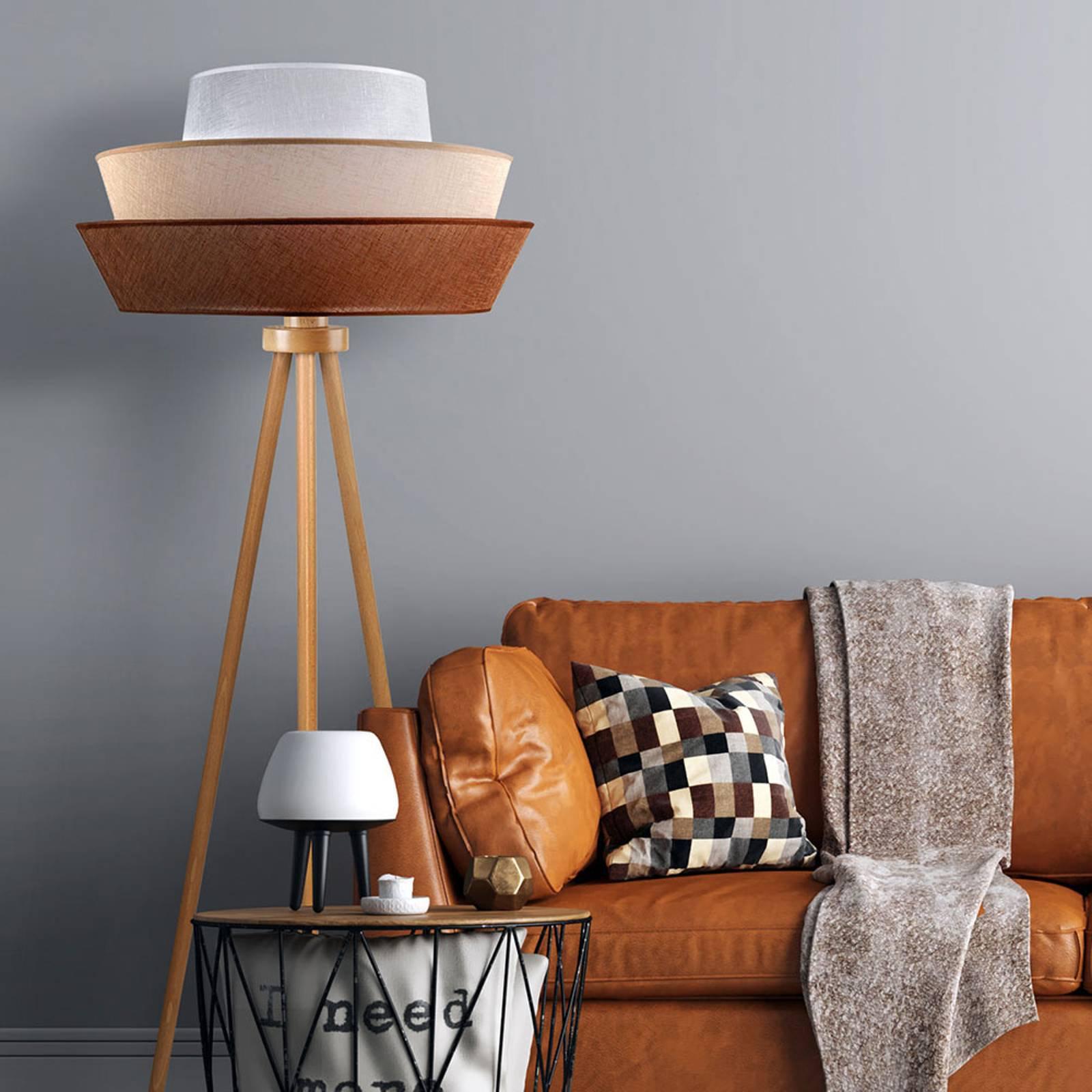 Trebein-gulvlampe Lotos, brun/beige/hvit