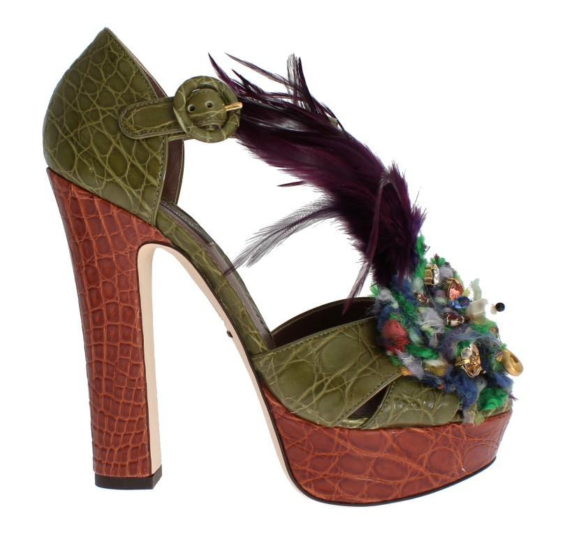 Dolce & Gabbana Women's Caiman Crocodile Leather Sandal Multicolor SIG17592 - EU40/US9.5