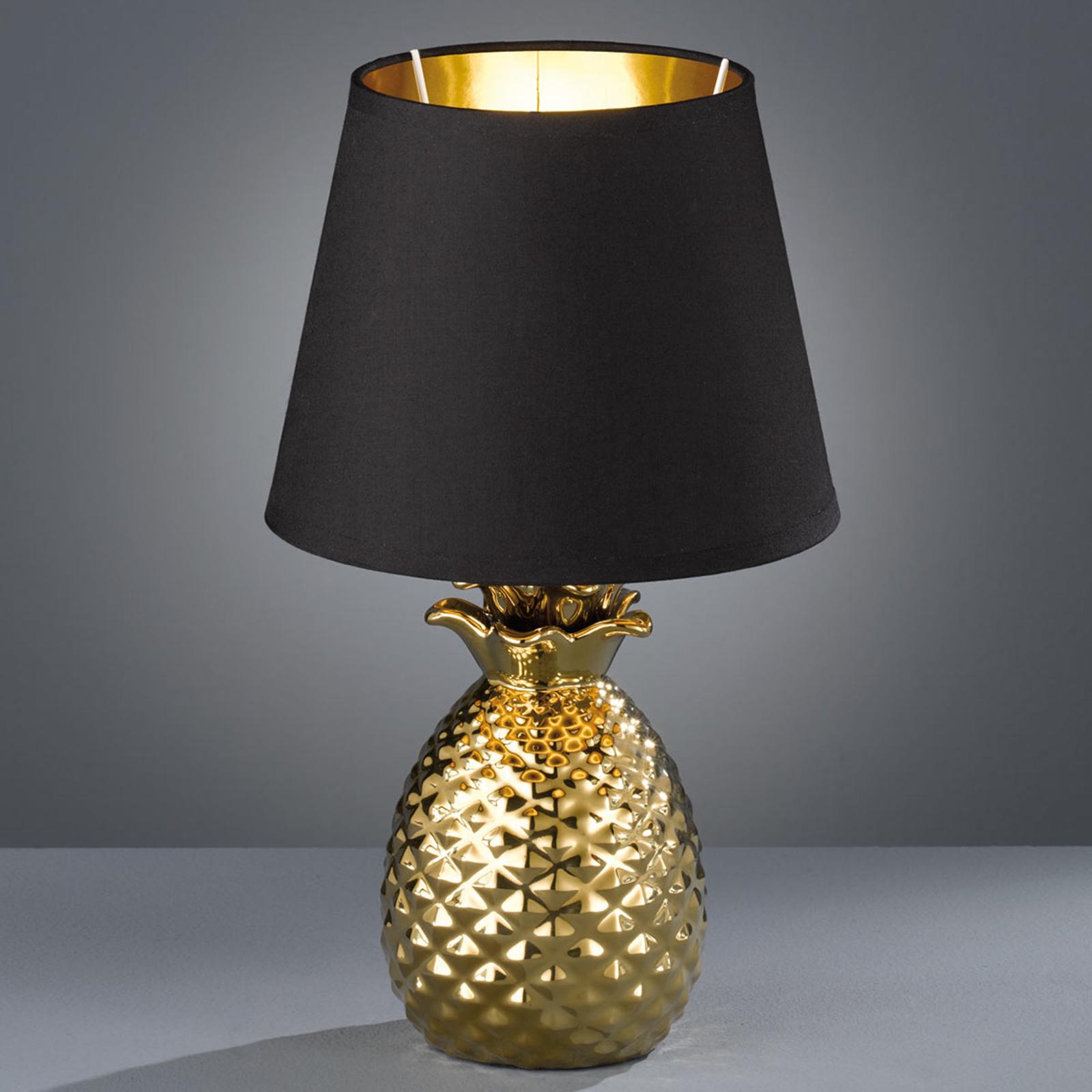 Upea keraaminen pöytälamppu Pineapple, kulta-musta