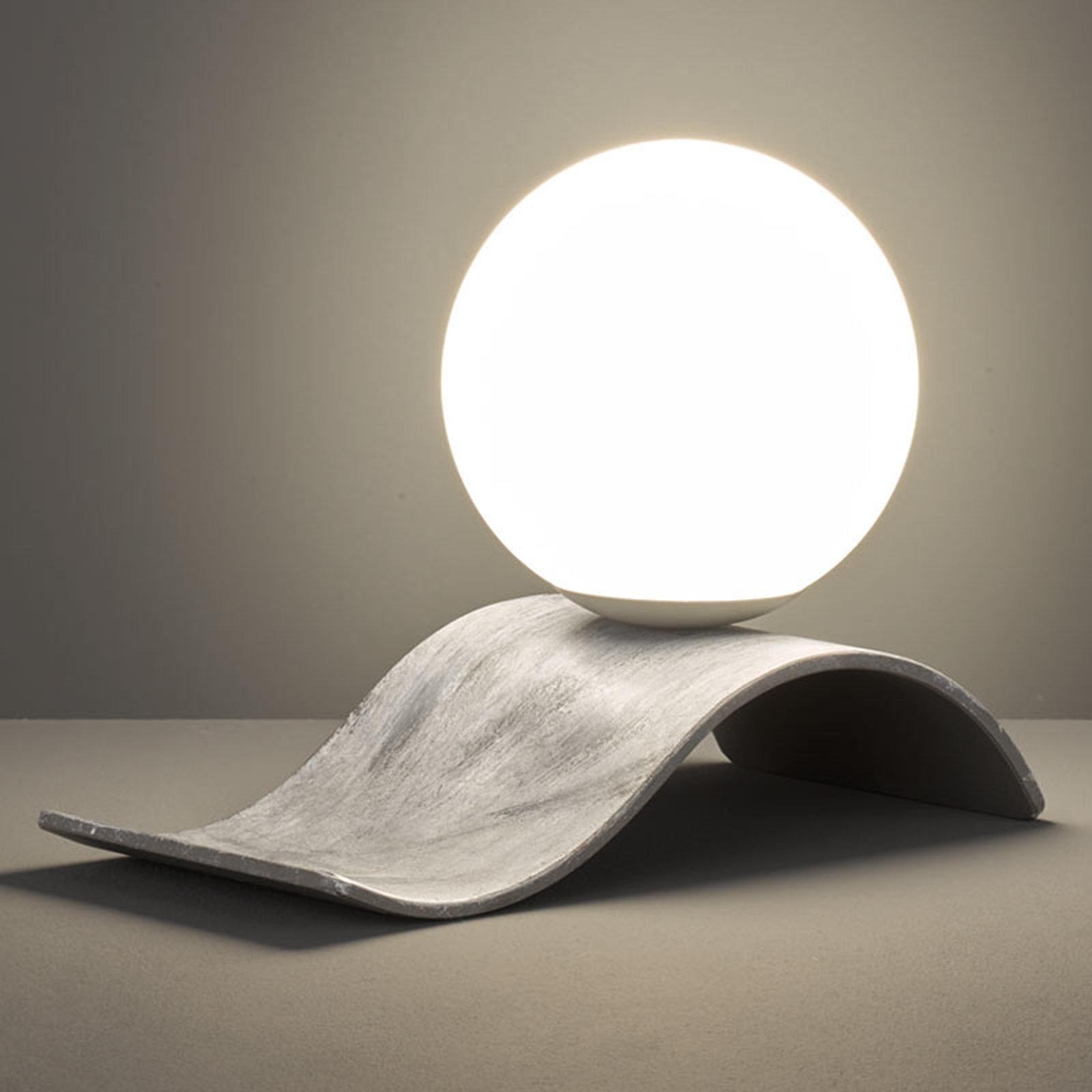 Glass-bordlampe Lara, grå antikk