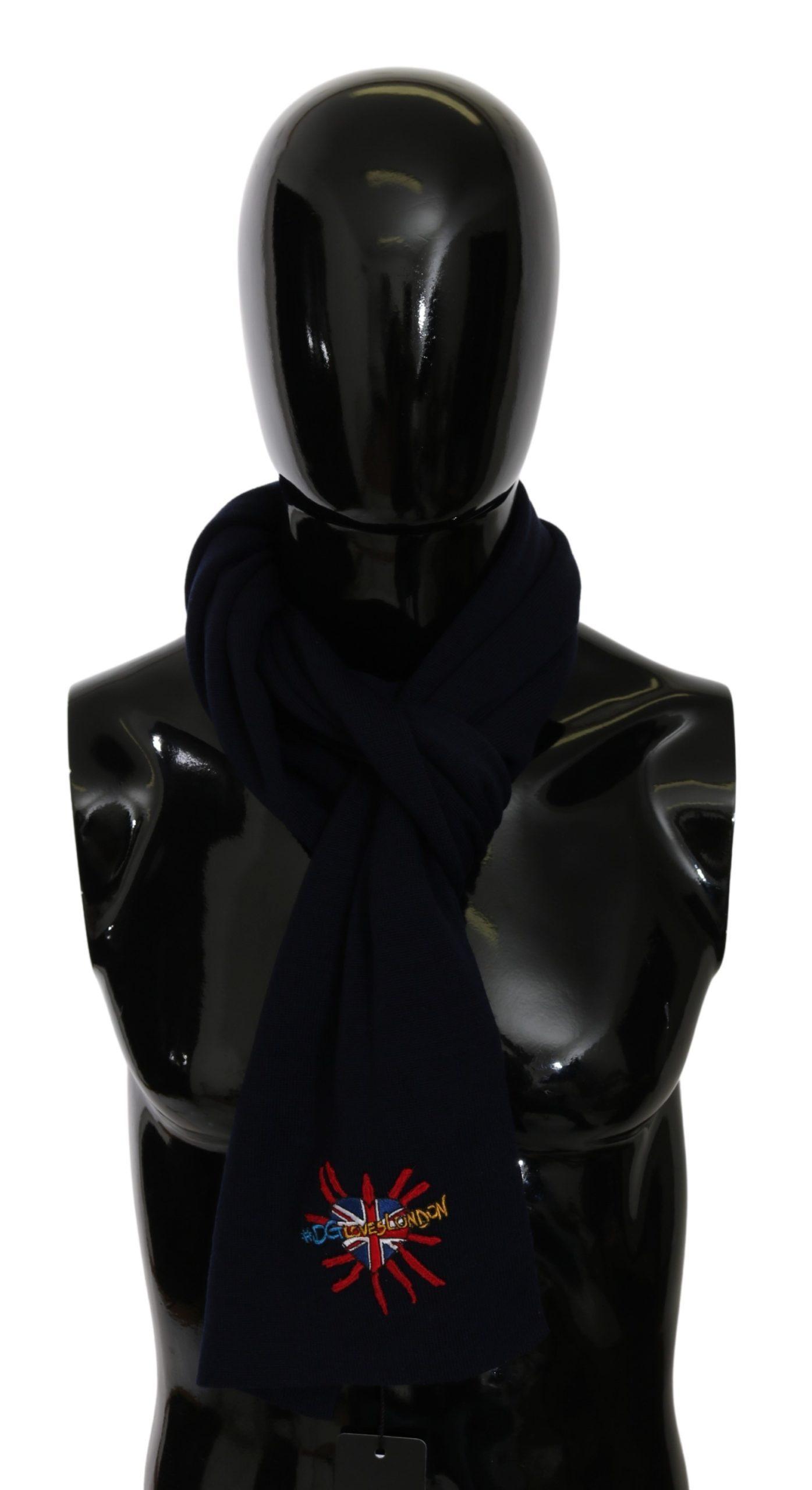 Dolce & Gabbana Men's #DGLovesLondon Wrap Wool Scarf Blue MS5647