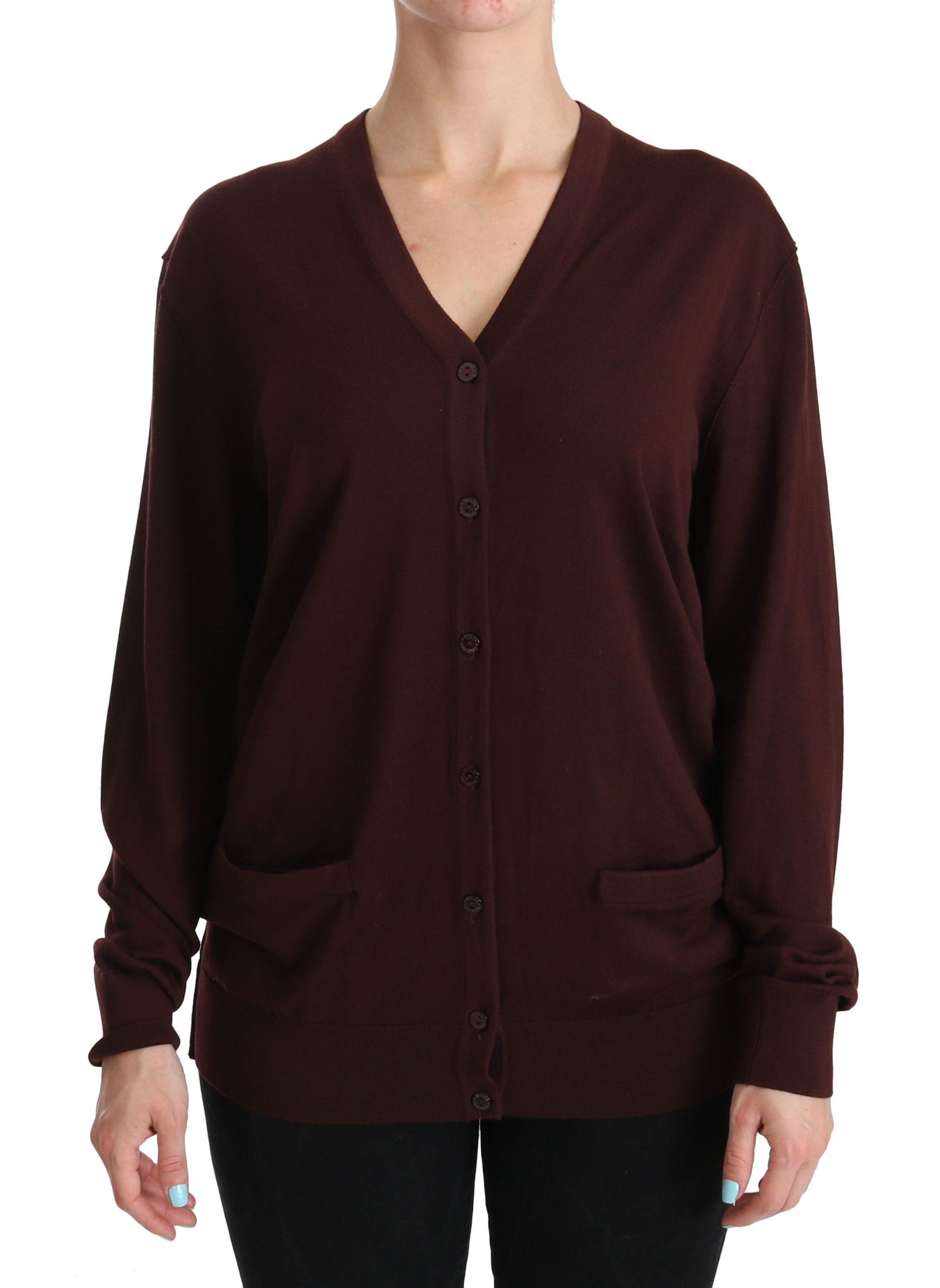 Dolce & Gabbana Women's V-neck Top Virgin Wool Cardigan Bordeaux TSH3897 - IT44|L