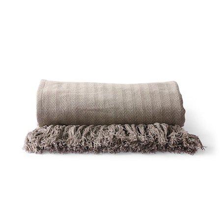 Cotton Zigzag Pledd Taupe 130x170 cm