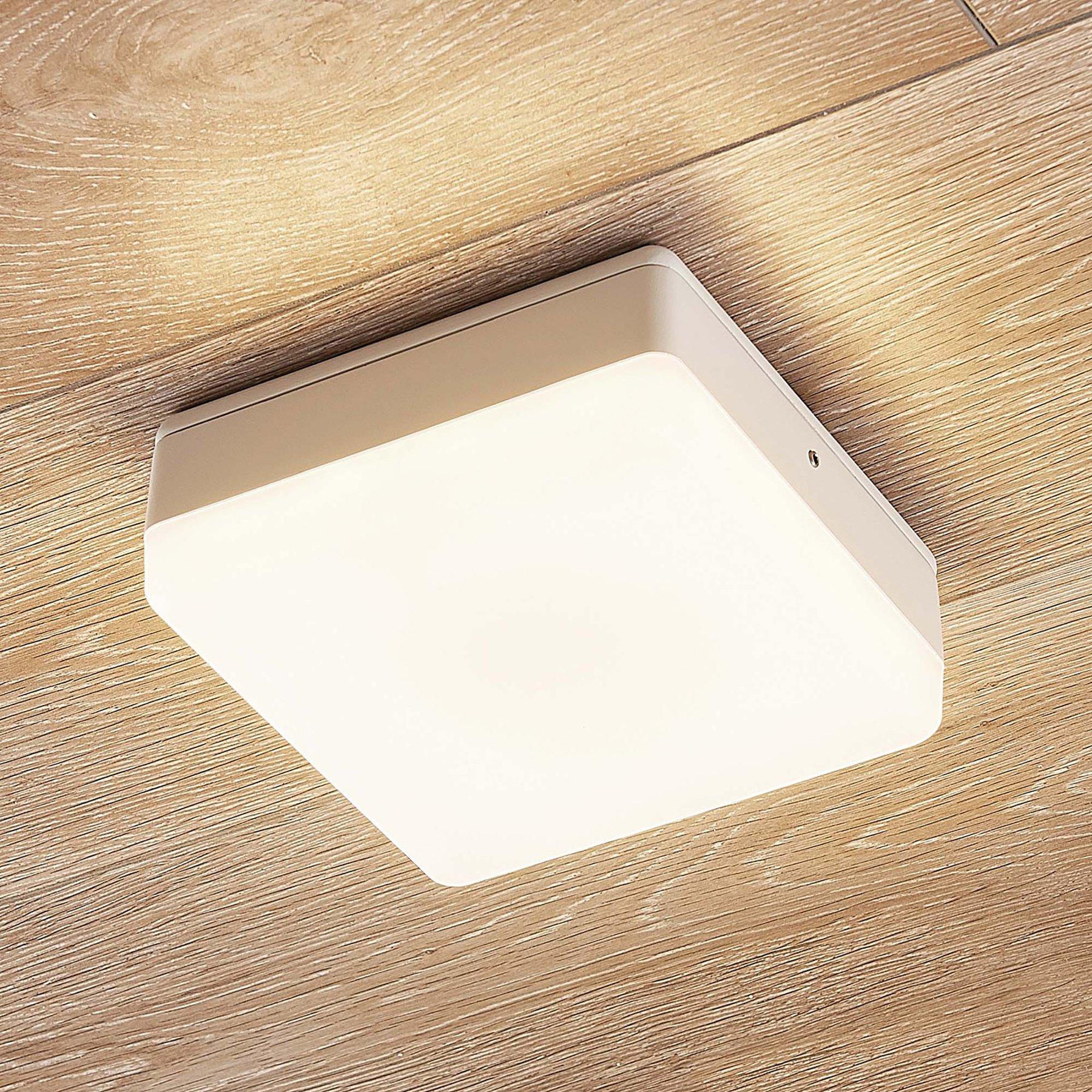 LED-taklampe Thilo, IP54, hvit, 16 cm, HF-sensor