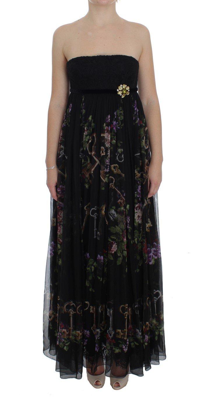 Dolce & Gabbana Women's Key Print Silk Crystal Brooch Dress Black NOC10191 - IT40|S