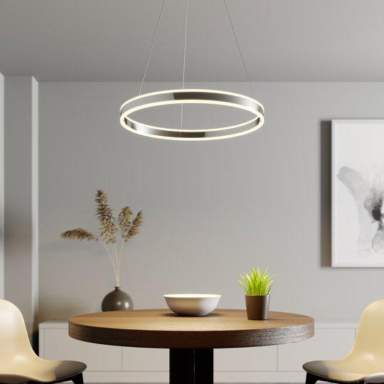 LED-riippuvalo Lyani, kromi, himmennettävä, 60 cm