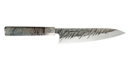 Ame 21 cm kokkekniv. 5-lags AUS10-stål med «regnmønster». 60-61 HRC