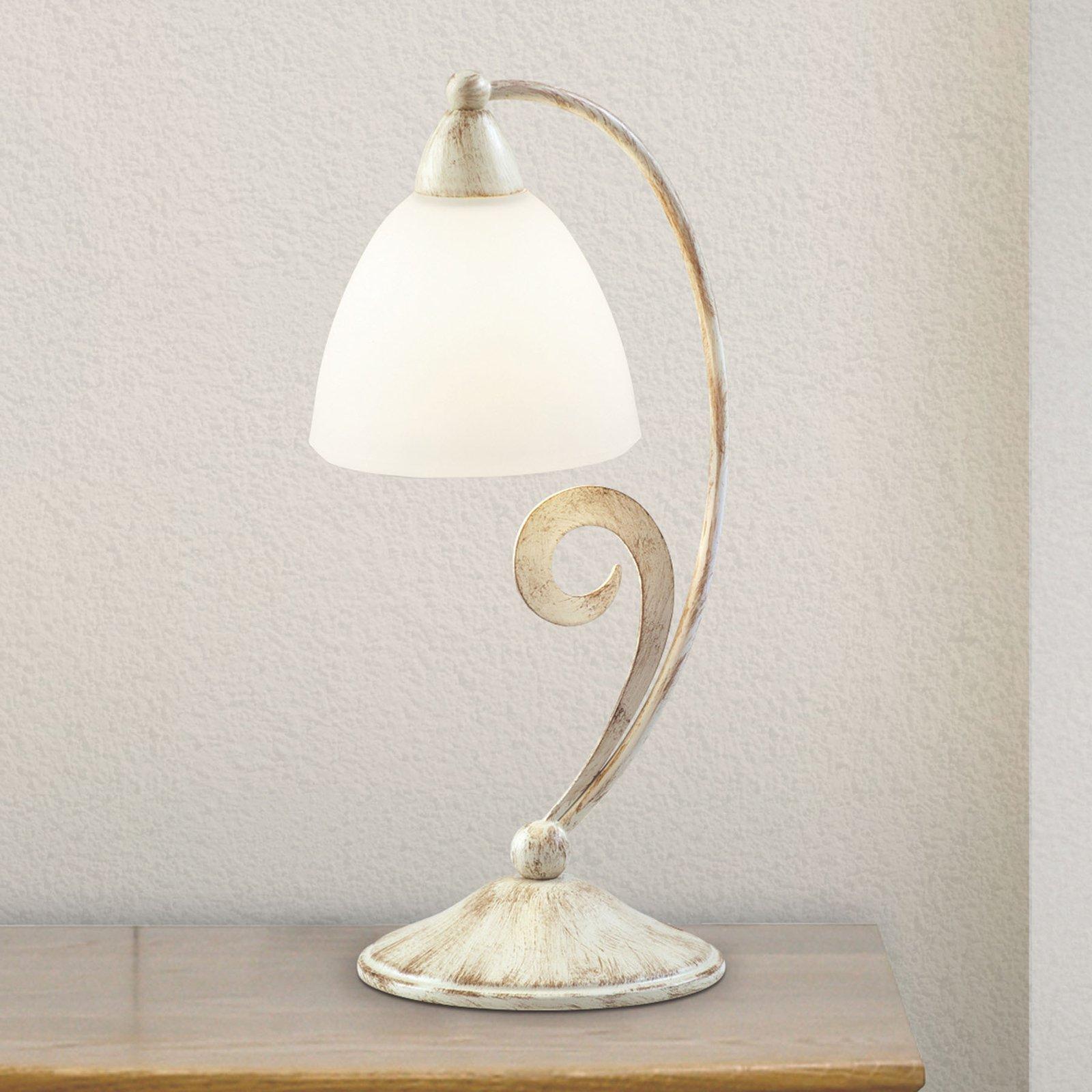 1730/1L bordlampe hvit satinert, elfenben