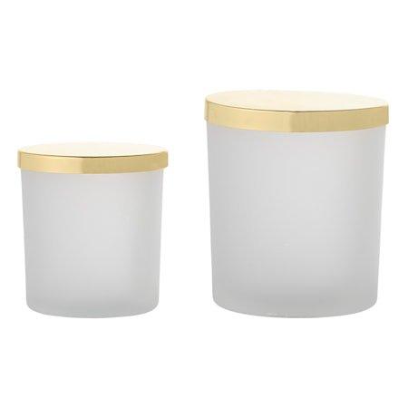 Bokser med lokk Hvit Glass 2-pakk