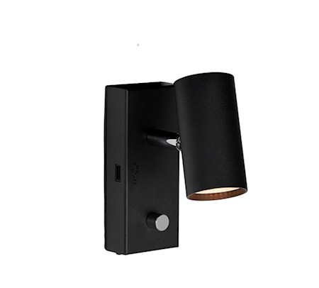 Tyson Vägg USB vänster Svartstr LED sladd ut ner