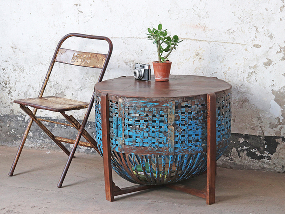 Upcycled Chicken Coop Table Blue