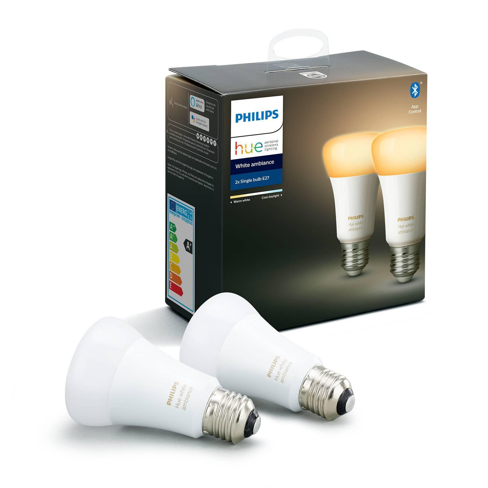 Philips Hue White Ambiance E27 8,5W, 2er-sett