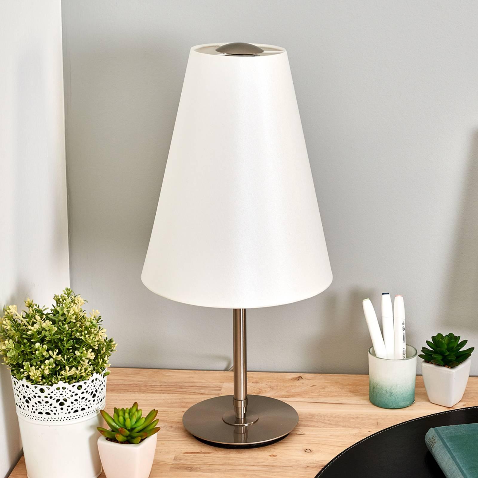 Pöytälamppu Clemo, 60 cm, harjattu nikkeli