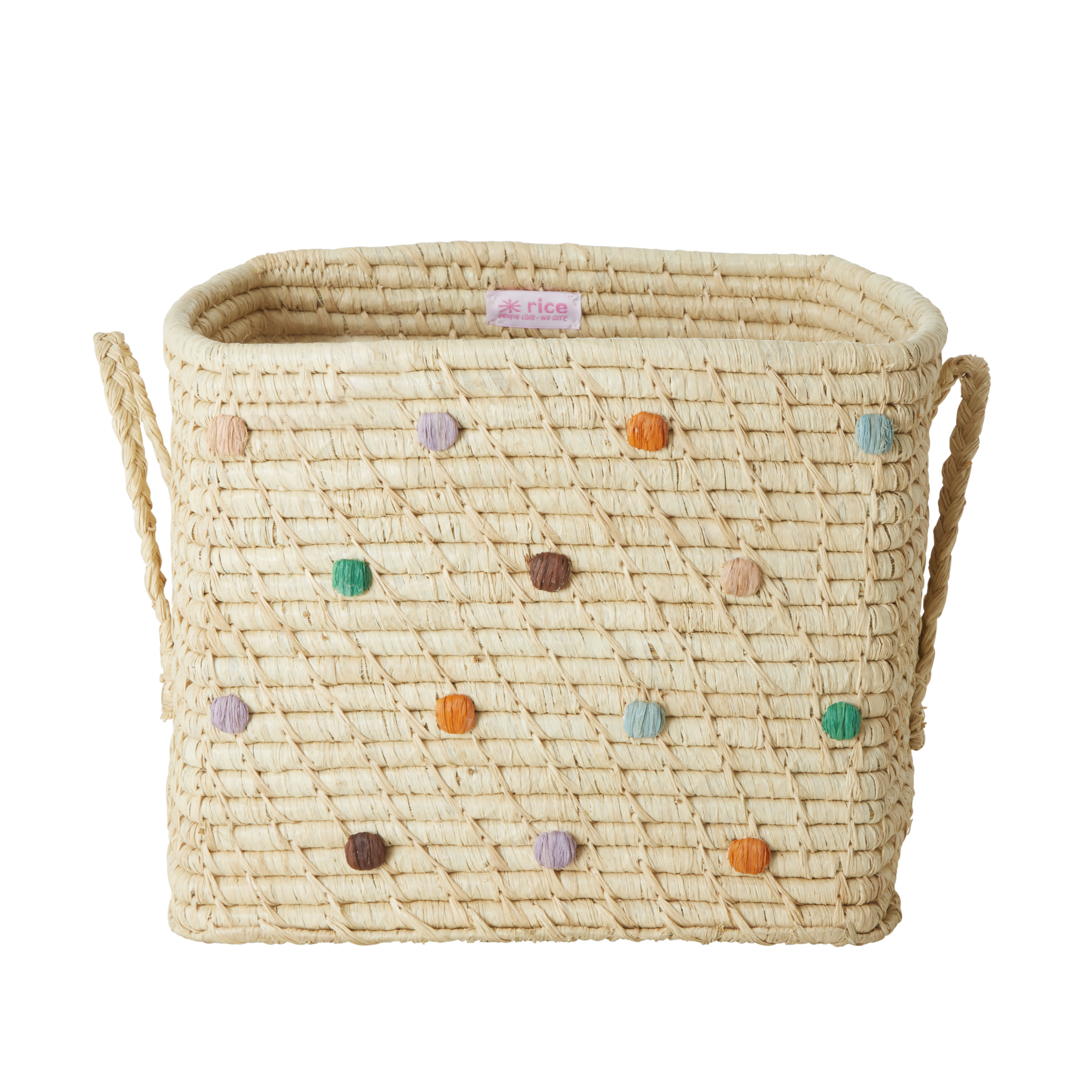 Rice - Small Square Raffia Basket with Leather Handles - Dots The Call of The Disco Ball