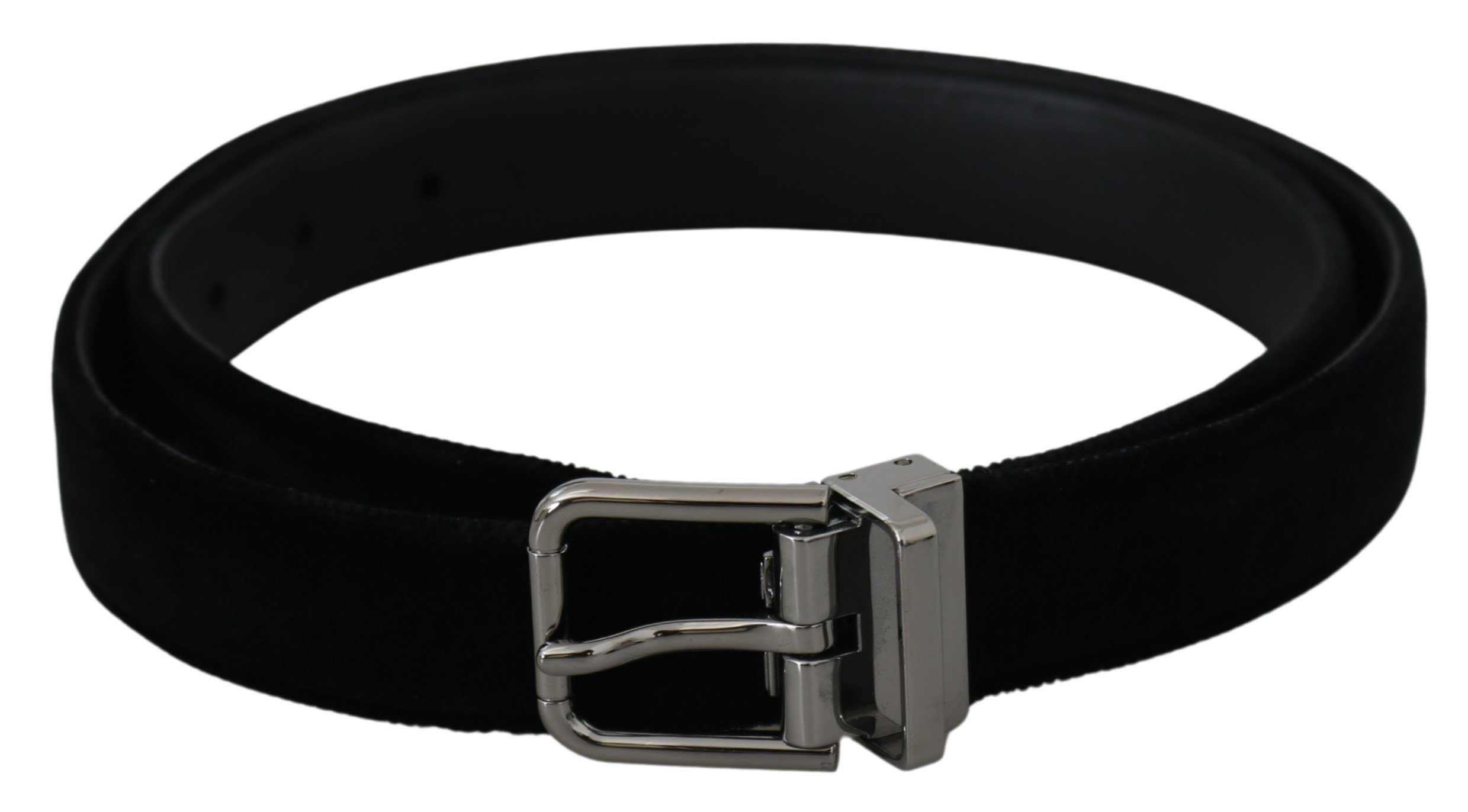 Black Leather Velvet Silver Buckle Belt - 90 cm / 36 Inches